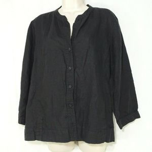 Eileen Fisher Blouse Top Irish Linen Button Front
